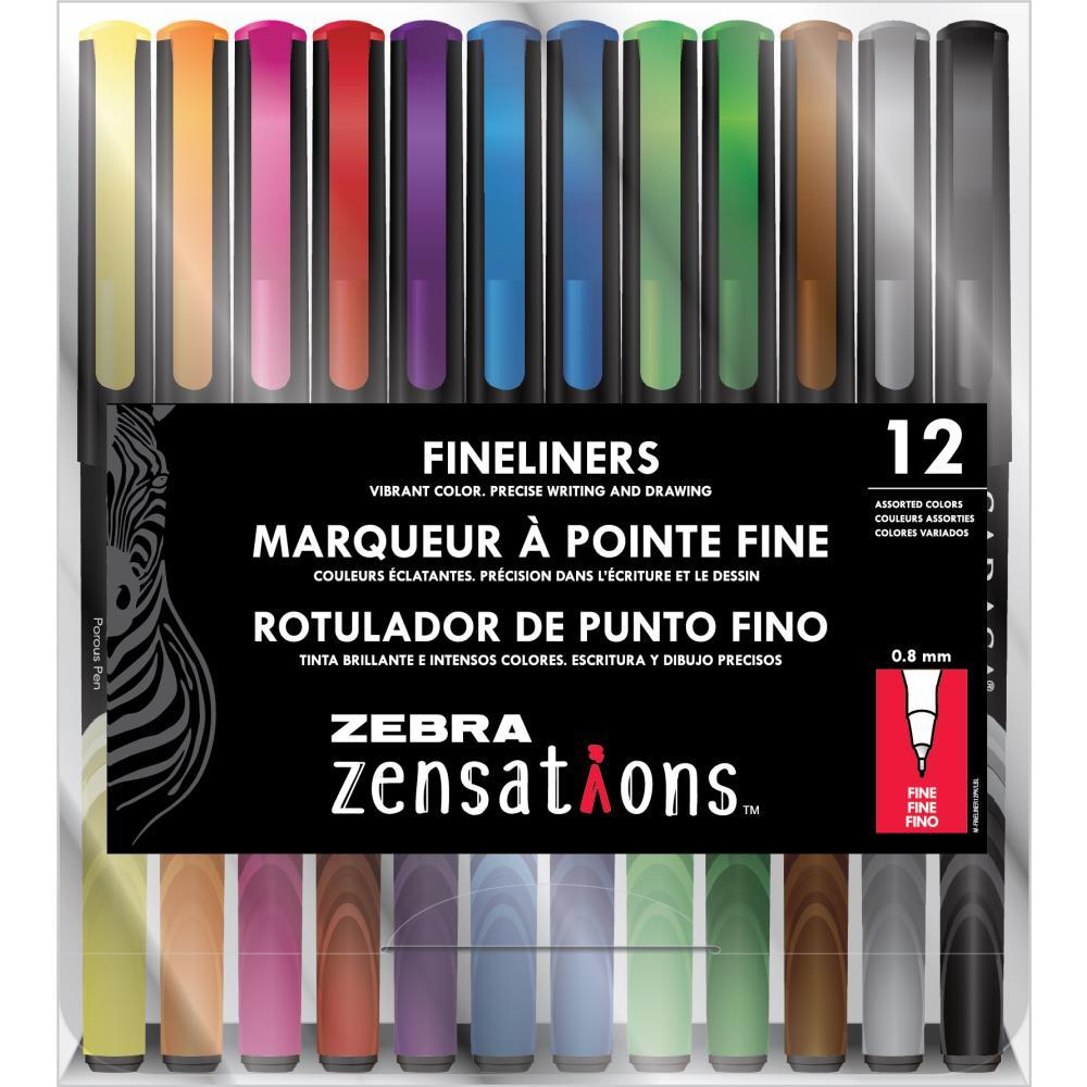 ZEBRA ZENSATIONS Finelines Pack of 12 0.8mm Fine tip 09012