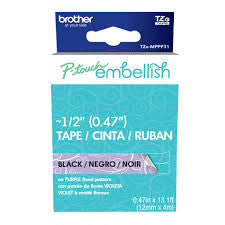 Brother P Touch Embellish Black on Purple Floral Tape mppf31