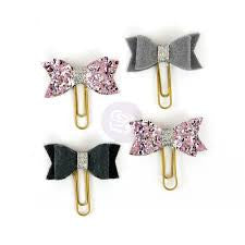 My Prima Planner Clips purple and grey bows set of 4