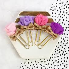 My Prima Planner Clips Prom Night bows set of 4 pink and purple