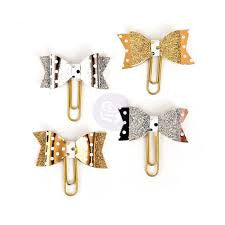 My Prima Planner Clips gold silver bows set of 4