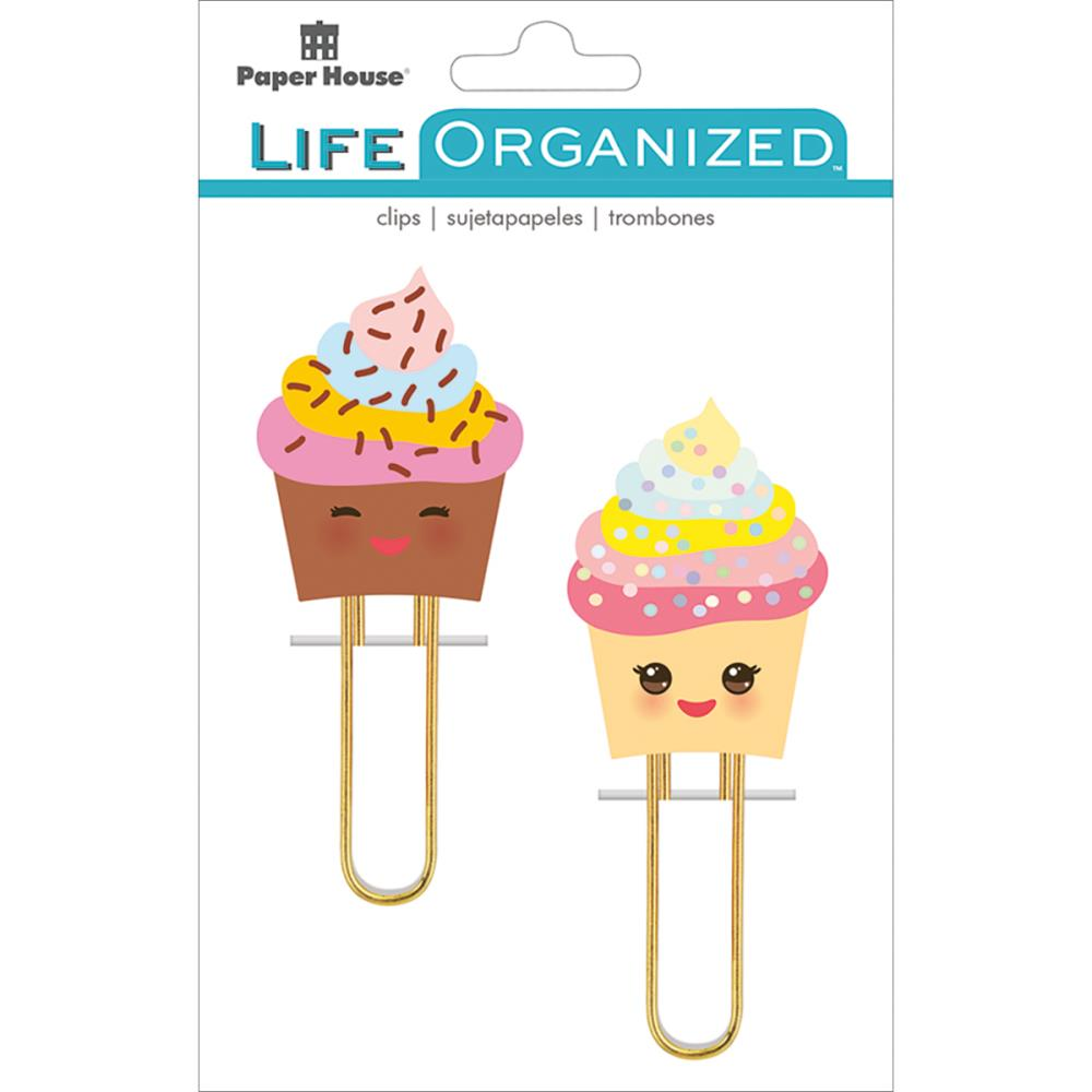 Paper House Life Organized Puffy Planner Clips pack of 2 - Kawaii Cupcakes - PLP