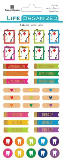 Paper House Life Organized foiled accent Planner Stickers 208 pcs - Doctor - stf
