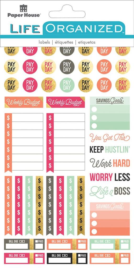 Paper House Life Organised Stickers 254pcs - Budget - STPL10e