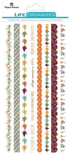 Paper House Life Organised Stickers 8pc Japenese Rice Paper Border stickers - st