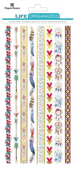 Paper House Life Organised Stickers 8 pc Japense Rice Paper Borders - Free Spiri