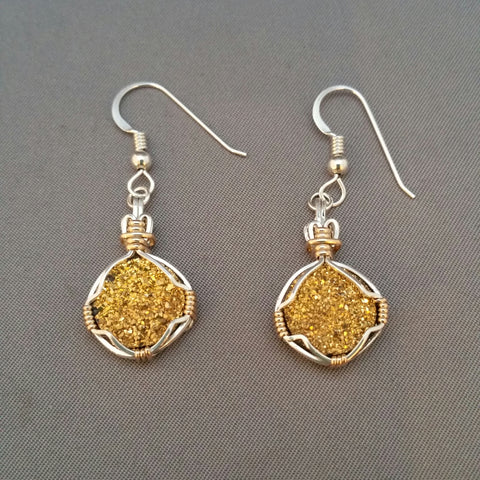 Druzy Quartz gold-plated earrings wire wrapped