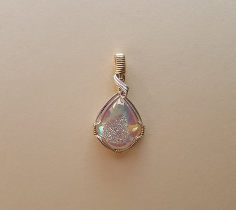 White Druzy Quartz Wire Wrapped Pendant