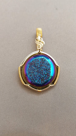 Blue Druzy Quartz Wire Wrapped