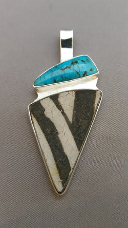 Turquoise and Old Pueblo Pottery Shard Pendant - SOLD 9/11/17
