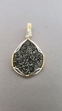 Black Druzy Quartz Wire Wrapped - SOLD