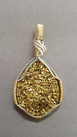 Druzy Quartz Wire Wrapped Pendant