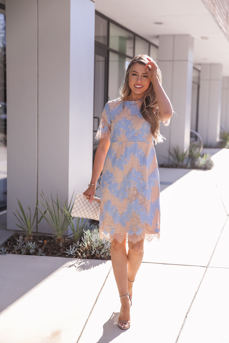 Ann Blue Lace Dress