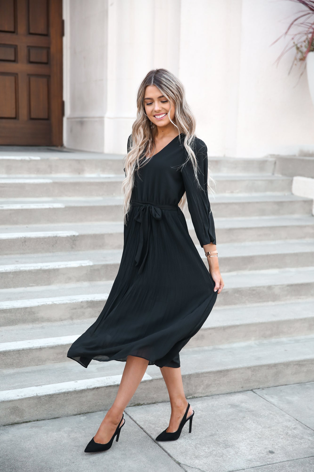 Pleated Black Midi Dress - llacie