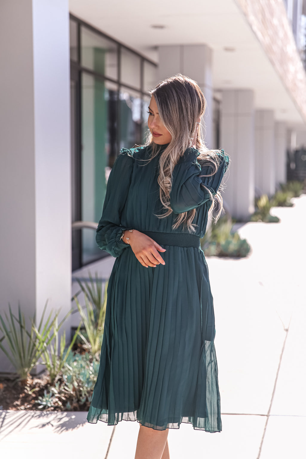 Emerald Dream Pleated Dress