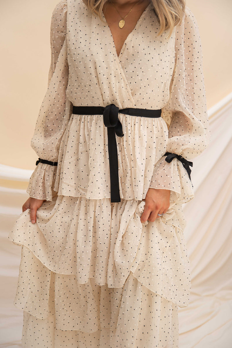 Zoe Tan Tiered Polka Dot Dress