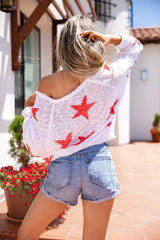 Star Print Loose Knit Sweater