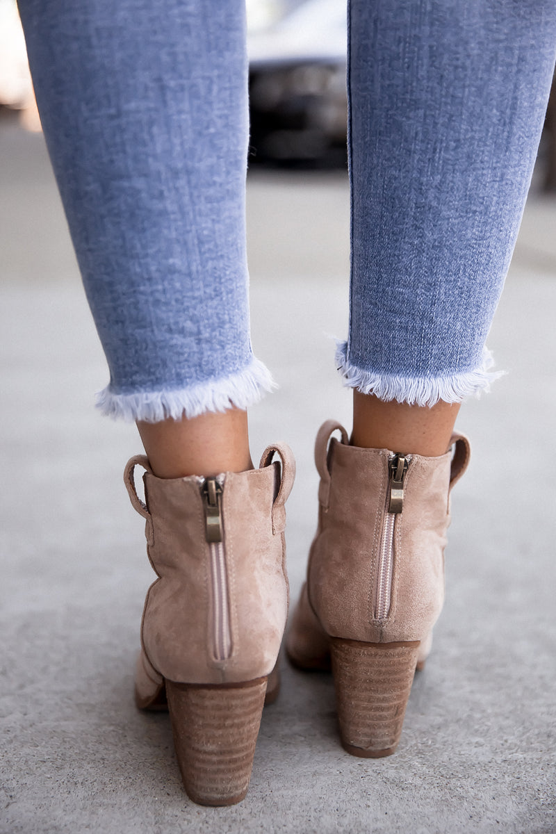 Country Side Faux Suede Heeled Booties- FINAL SALE