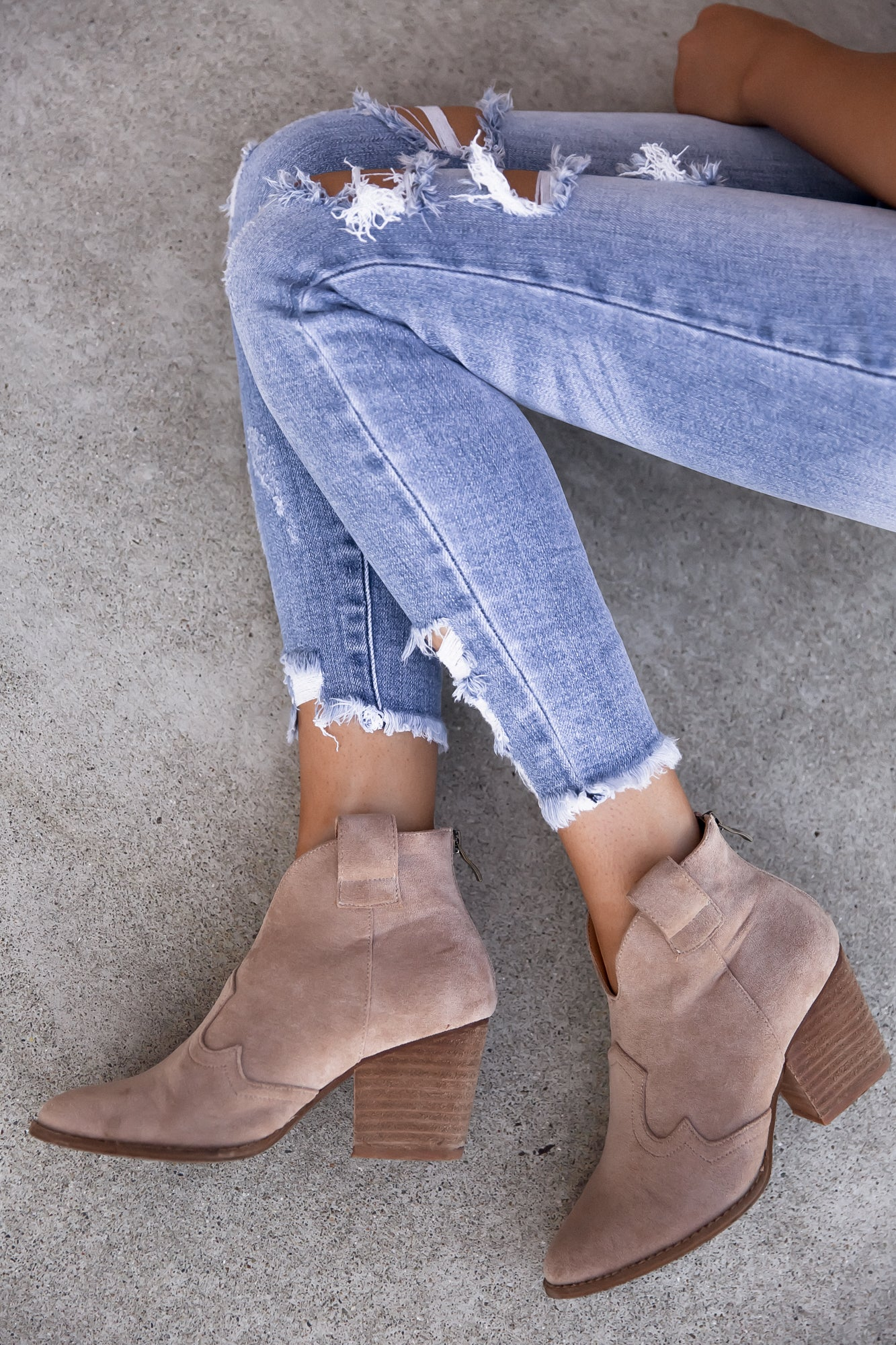 Country Side Faux Suede Heeled Booties