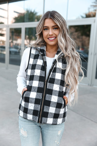 Stand Collar Sleeveless Plaid Vest - llacie