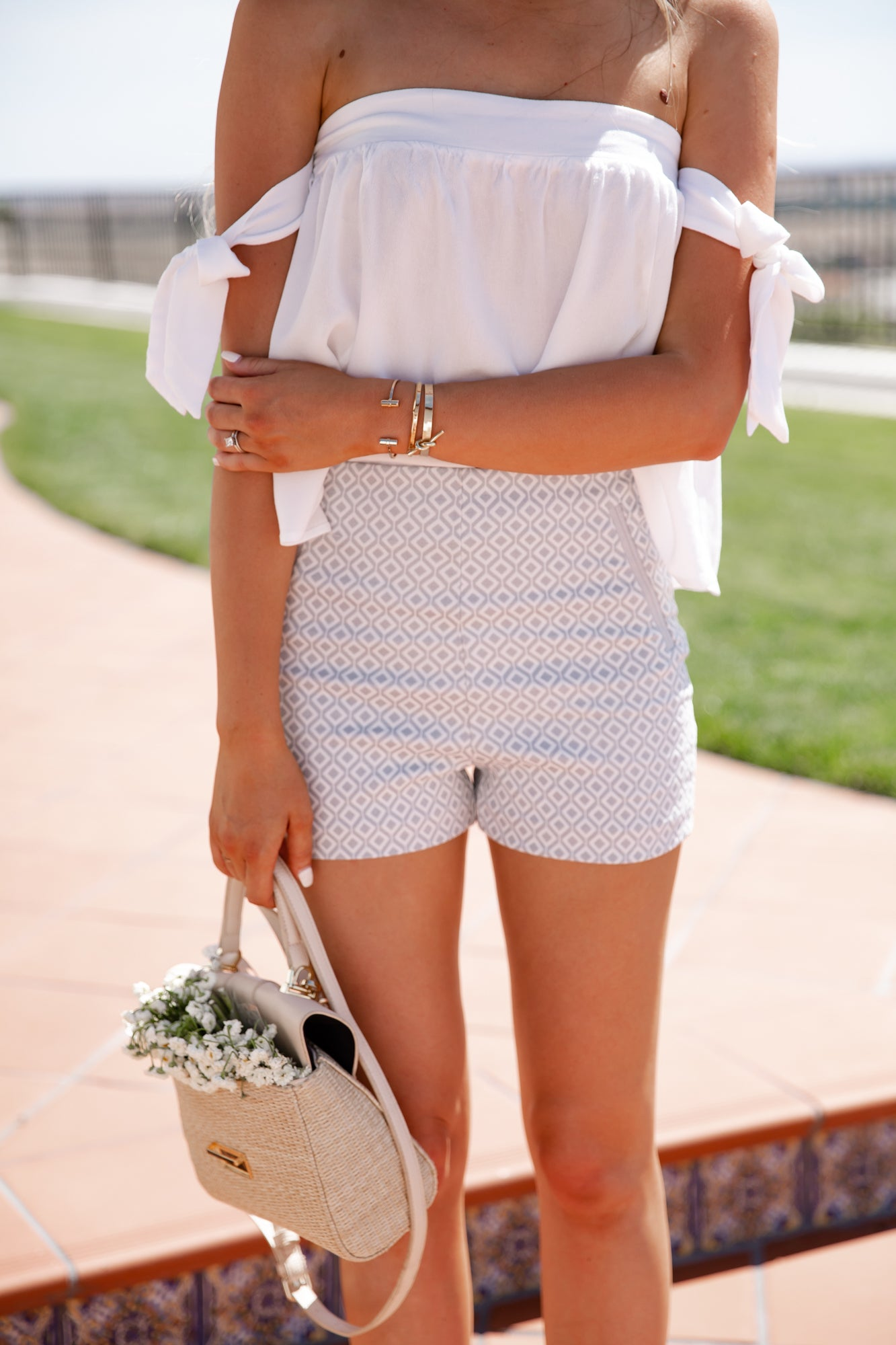 Grey Diamond Printed Shorts - llacie