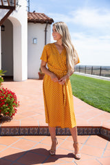 Mia Mustard Polka Dot Dress