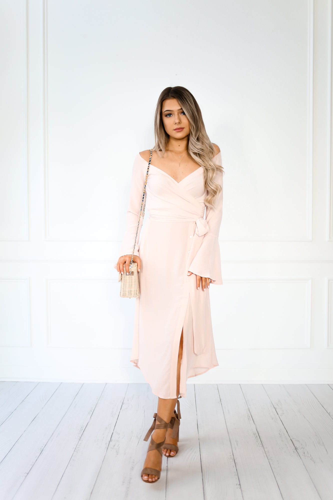 ADELINE BLUSH MIDI WRAP DRESS
