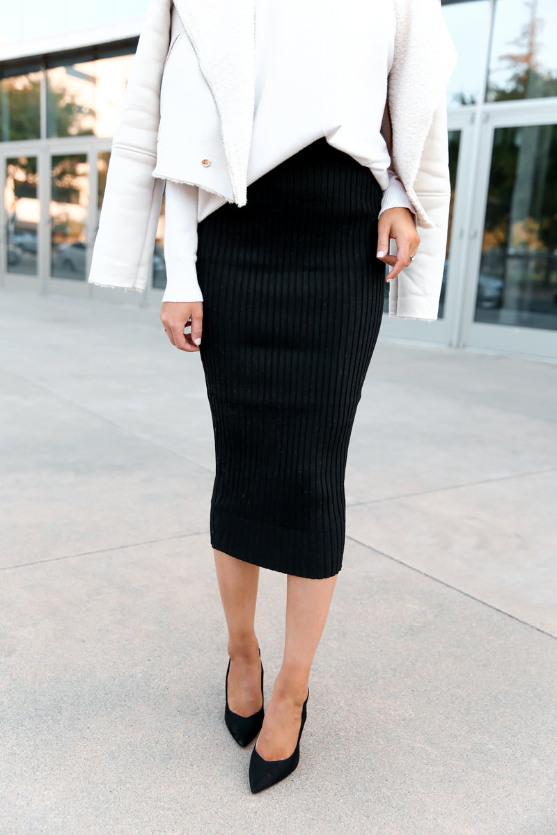 Ribbed Midi Skirt - llacie