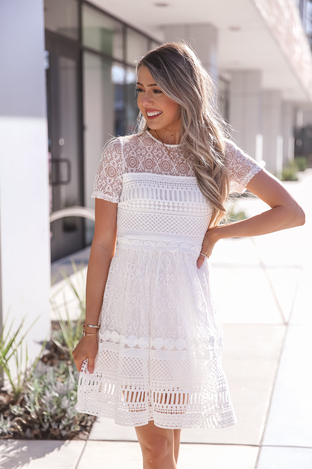 Cindy White Lace Dress