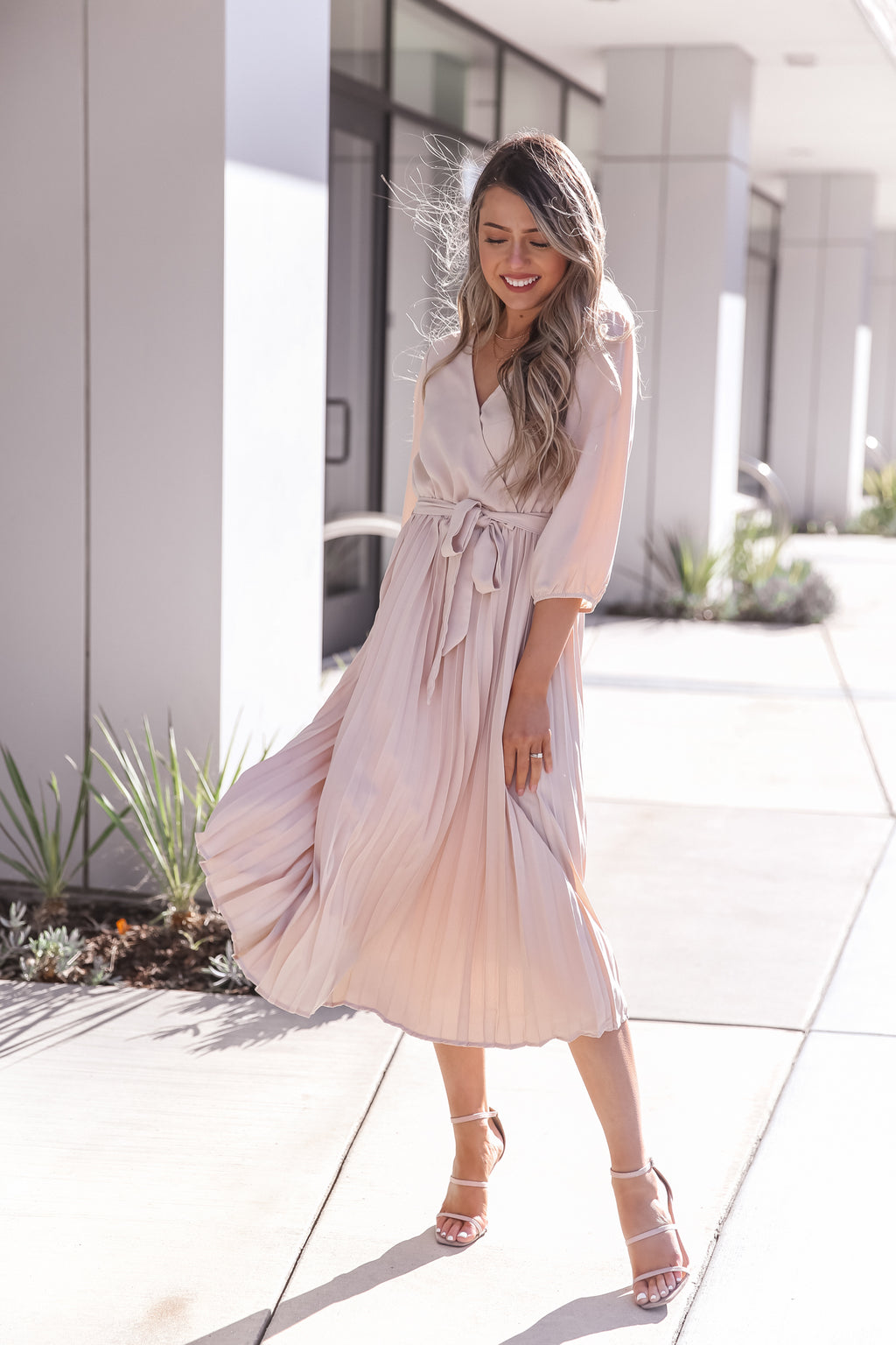 Rach Cream Pleated Dress