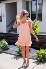 Coral Swiss Dot Dress - llacie