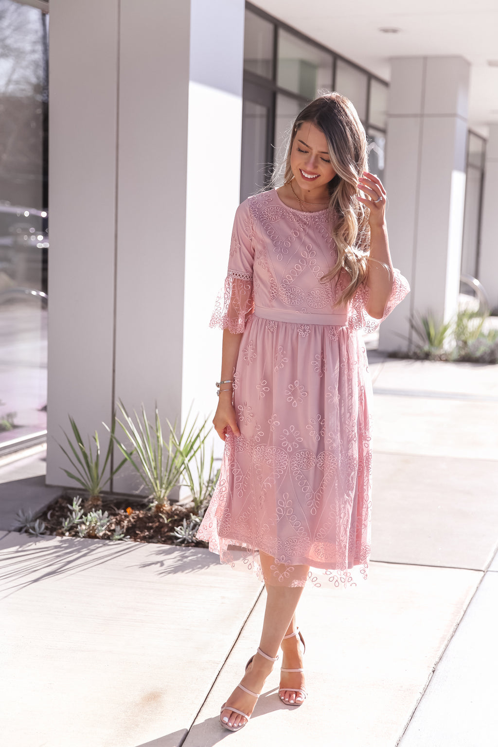 Lexi Pink Embroidered Dress- FINAL SALE