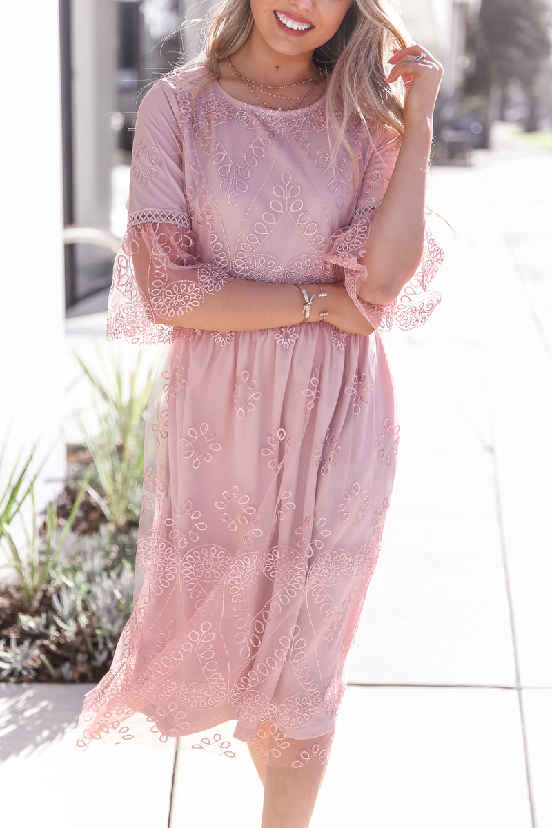 Lexi Pink Embroidered Dress