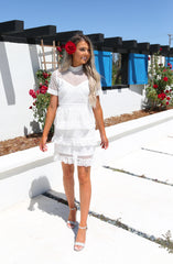 Estelle Tiered Lace Short Sleeve Dress