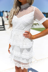 Estelle Tiered Lace Short Sleeve Dress - llacie