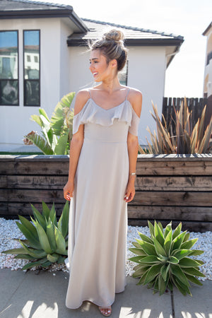 All About Love Steel Grey Maxi Dress- FINAL SALE