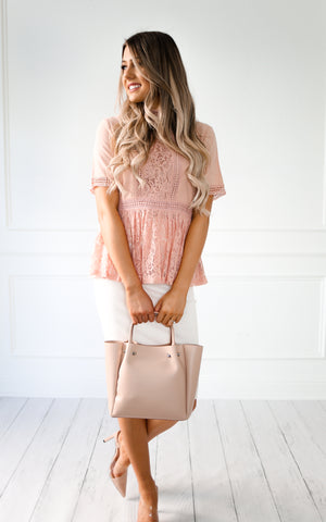 AVA BLUSH LACE BLOUSE