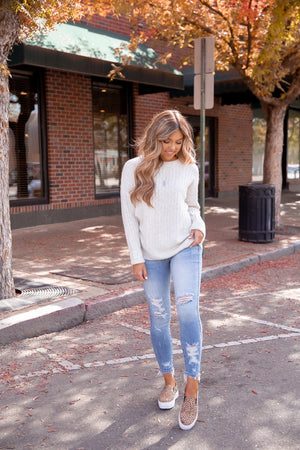 Cuddle Up Grey Ribbed Sweater