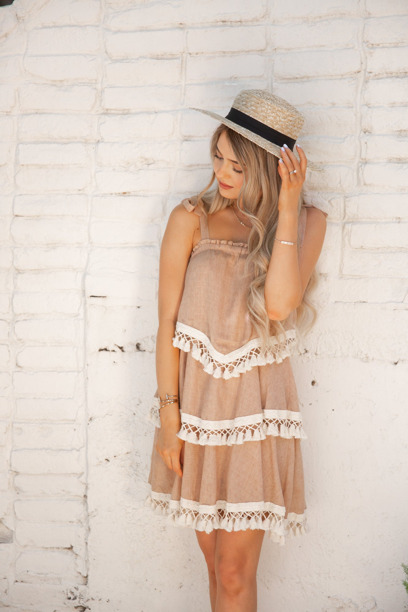 Louetta Cream Layered Tassel Dress