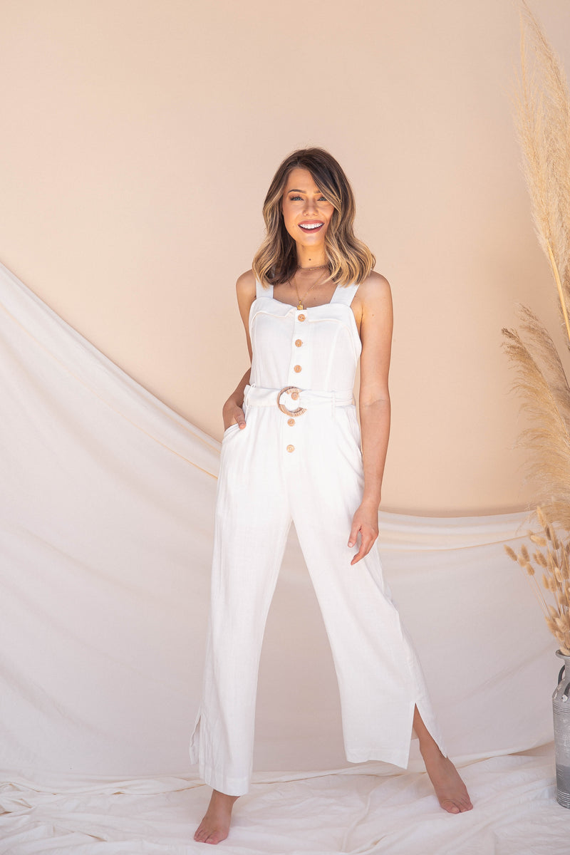 Blanco Belted Jumpsuit- FINAL SALE