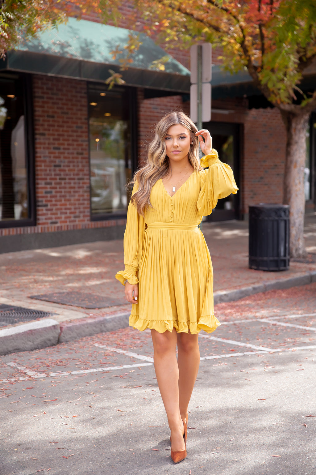 Rana Pleated Mustard Dress