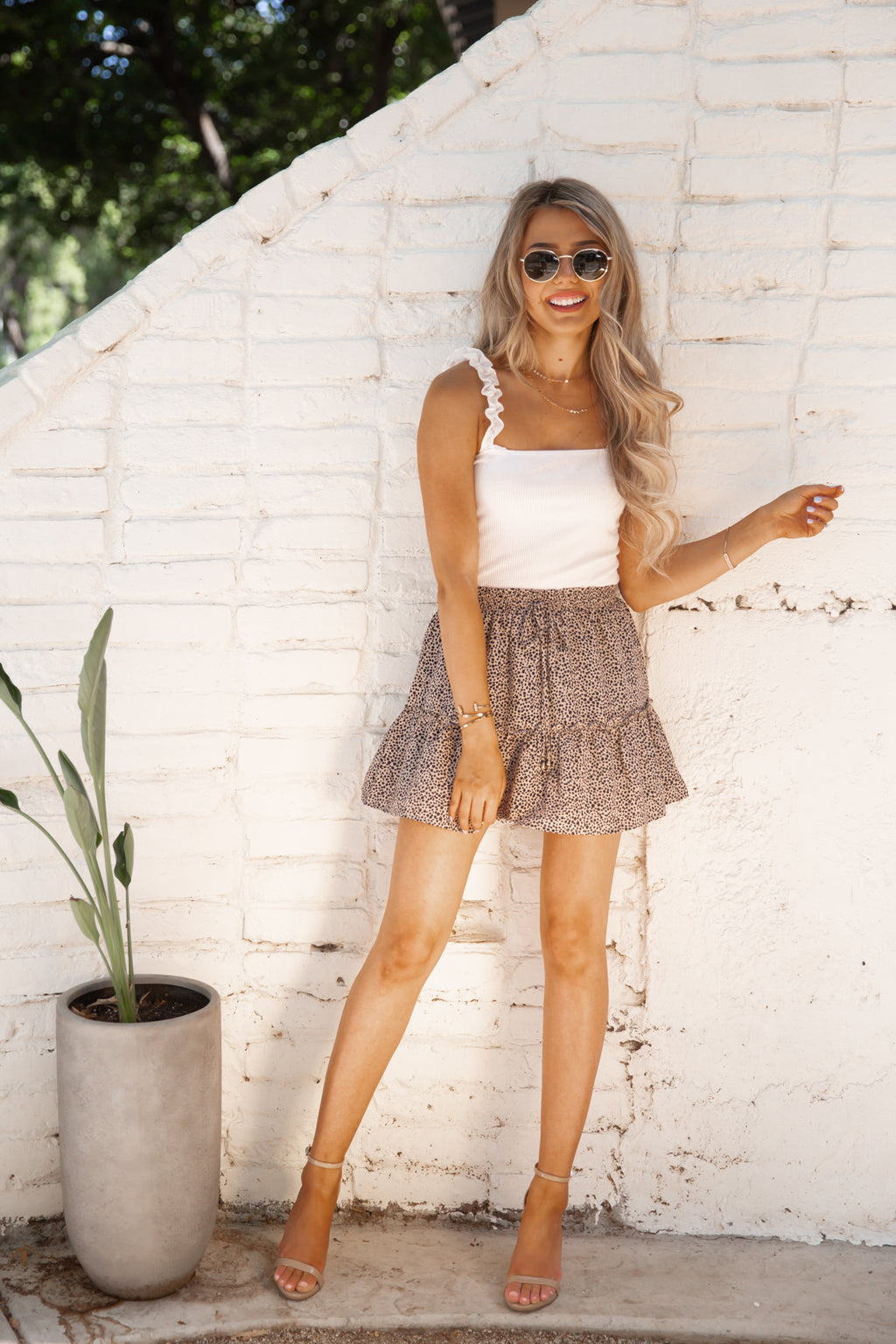 Dancing In The Sun Skirt In Leopard Print- FINAL SALE
