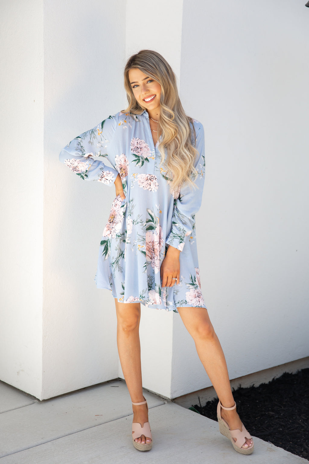Sundown Blue Floral Long Sleeve Tunic- FINAL SALE