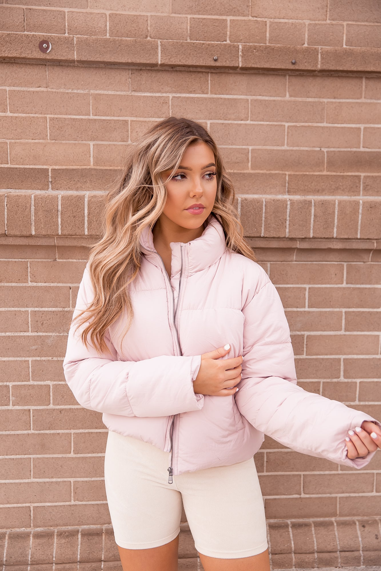 Snow Bunny Dusty Pink Puffer Jacket