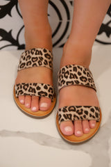 Two Band Leopard Sandals
