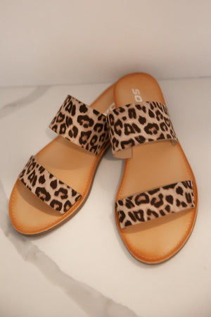 Two Band Leopard Sandals- FINAL SALE