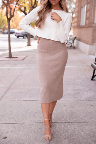 Oakland Camel Knit Midi Skirt