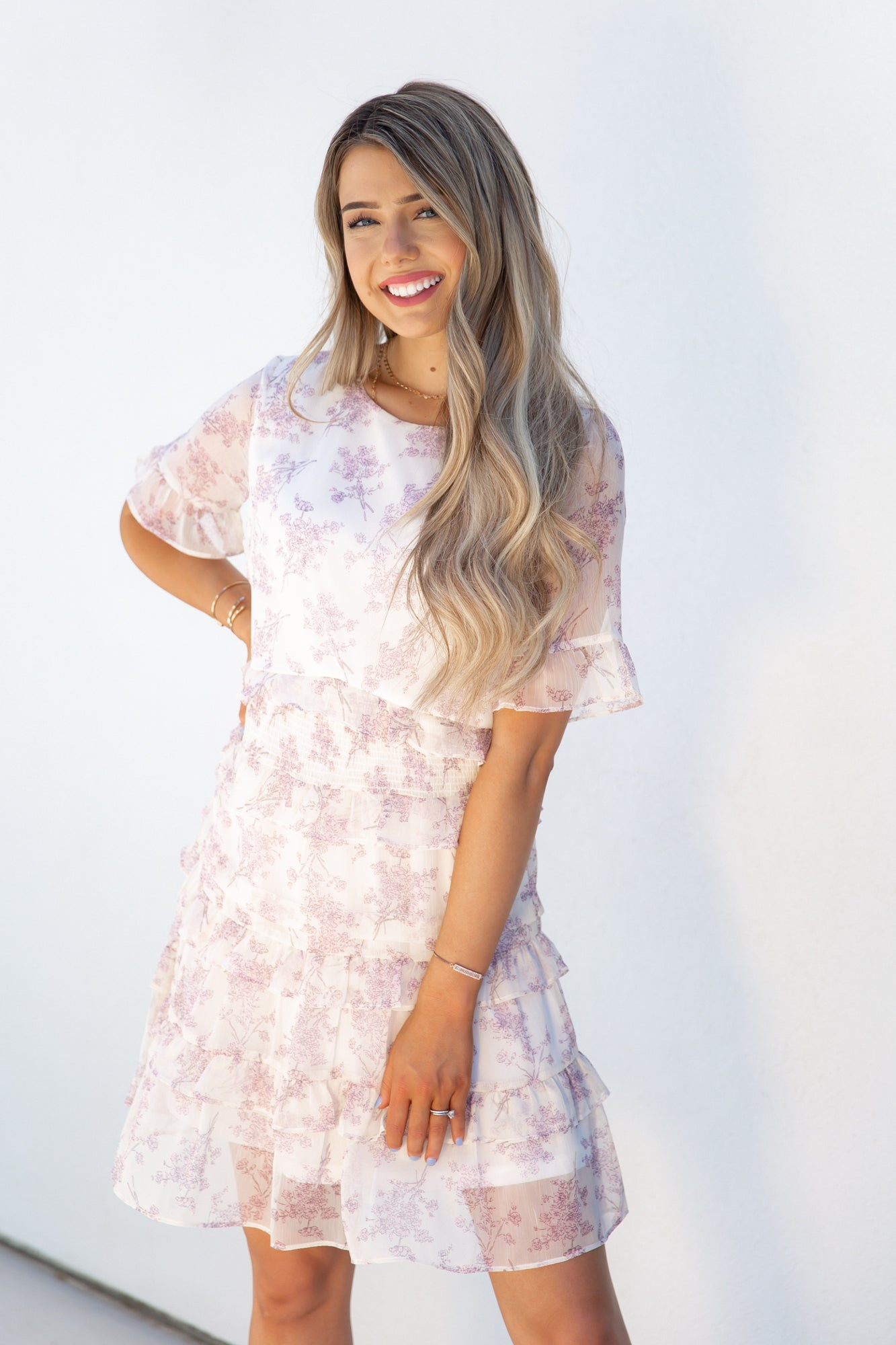 Lupine Floral Tiered Dress