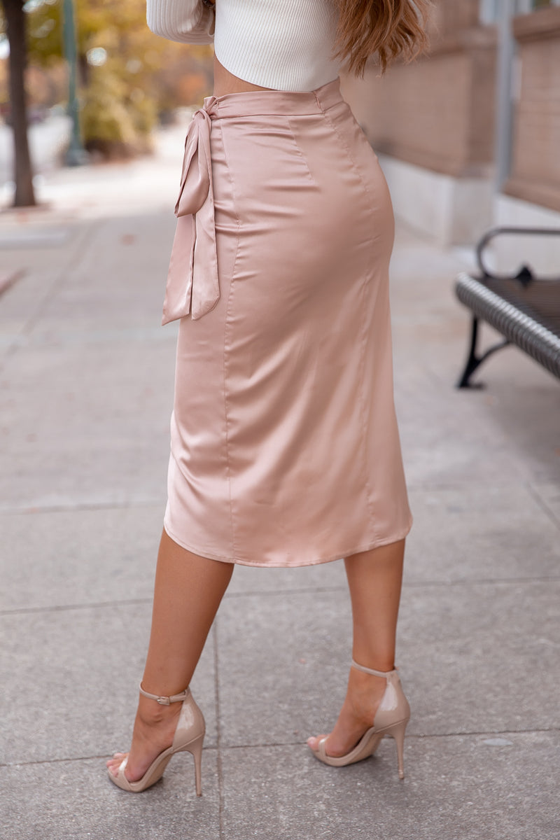 Cheers Champagne Midi Skirt