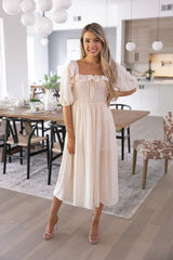 Cream Smocked Midi Dress
